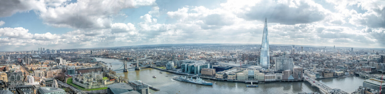 London Cityscape Skyline Wide Panorama. Famous Landmarks
