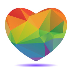 bright rainbow polygonal heart