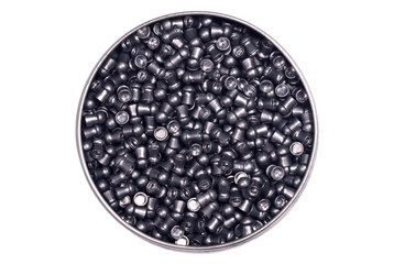 Airgun pellets, isolated on a white.
