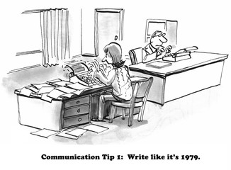 Cartoon about writing more frequently and writing with a typewriter.