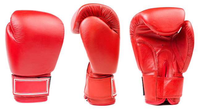Red leather boxing glove isolated