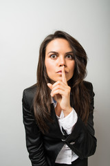 Business woman showing quiet