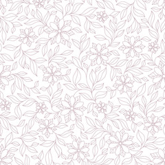Ornate violet and pink floral seamless texture, endless pattern