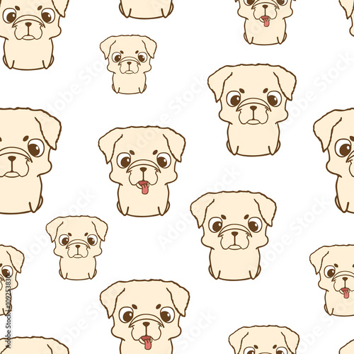 Seamless Pattern With Pug Puppies Cute Little Dogs In Cartoon Style