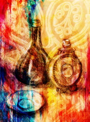 Drawing flask and wine carafe on paper. Original hand draw and Color effect.