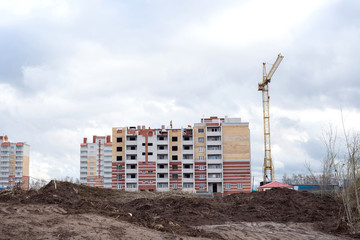 Construction of a brick apartment building
