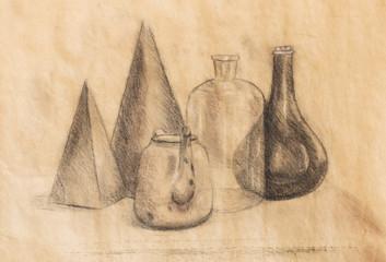 still life drawing. Original hand draw on paper.
