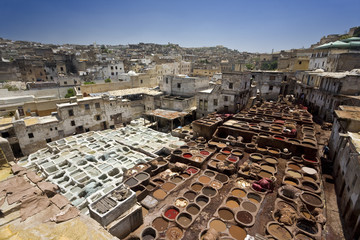 Morocco. Fez (Fes el-Bali). The tanner's quarter (Souk Dabbaghin) - general view