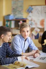 Teenage boys in classroom