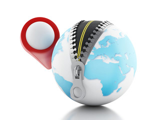 3D Globe with zipper open and a map pointer
