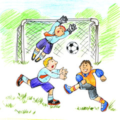 Comic illustration on a theme: Teamwork.Office workers playing football. Drawing by hand
