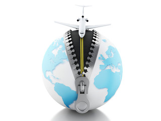 3d Globe with airplane on top.