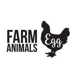 Black contour farm animal with a white lettering  inscription inside, Logo Chicken vector animal, outline for the product, vector illustration contour farming Chicken with lettering on the fowl food