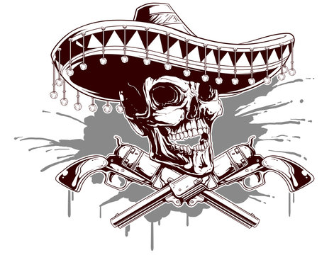 Skull with sombrero and two revolvers