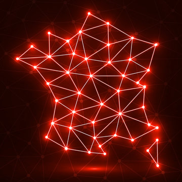 Abstract polygonal France map with glowing dots and lines, network connections, vector illustration, eps 10