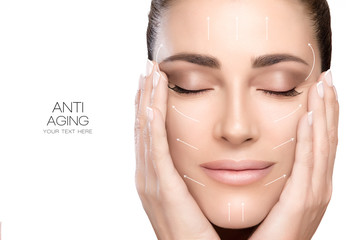 Surgery and Anti Aging Concept. Beauty Face Spa Woman Wall mural