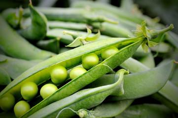 closeup of pod green peas