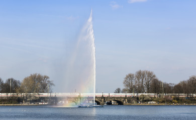 Hamburg Outer Alster Lake with Fountain