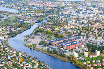 Aerial view of residential buildings with river