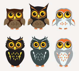 Vector Set of Thanksgiving Themed Owls