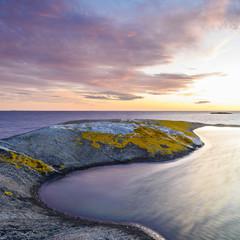 Scenic coast at sunset