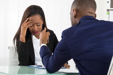 Boss Bullying At Her Female Worker