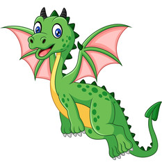 Cartoon funny green dragon flying