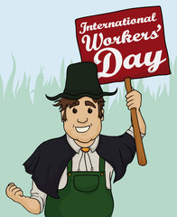 Farmer with Banner for Workers' Day Celebration, Vector Illustration