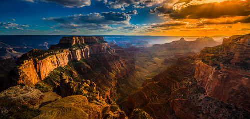Spoed Fotobehang Canyon Grand Canyon North Rim Cape Royal Overlook at Sunset Wotans Thro
