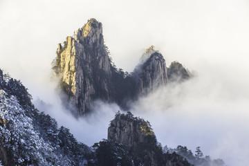 Beautiful view of Huanshan mountain in the mist.