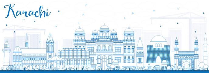 Outline Karachi Skyline with Blue Landmarks. Fototapete