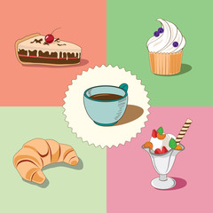 A cup of coffee with a piece of cake, a croissant, an ice-cream and a cake vector illustration
