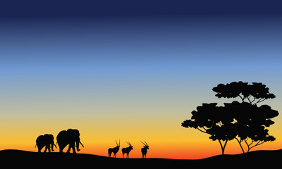 Elephant and antelope silhouette