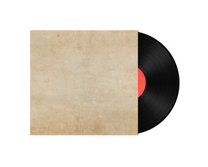 Old vinyl record in a paper case on white background