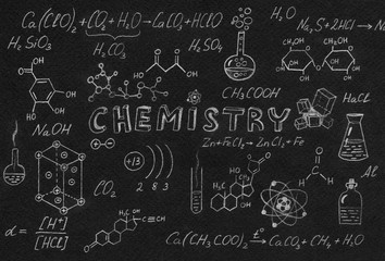 Hand drawn science laboratory icons sketch.