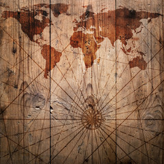 Fototapete - World map vintage pattern for wood background. Elements of this Image Furnished by NASA.