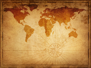 Fototapete - Old map of the world. Elements of this Image Furnished by NASA.