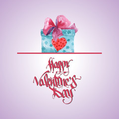 Happy Valentines Day Greeting Card. Element for your design. Vector Illustration