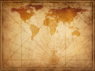 Wall Mural - Old map of the world. Elements of this Image Furnished by NASA.