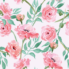 Watercolor seamless pattern with blooming Ranunculus. Vector Illustration
