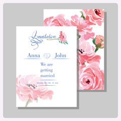 Wedding invitation cards with watercolor blooming Ranunculus. (Use for Boarding Pass, invitations, thank you card.) Vector illustration.