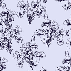 Seamless pattern with branches with blooming poppies. Vector illustration