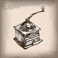 Sketch coffee mill. Vector illustration