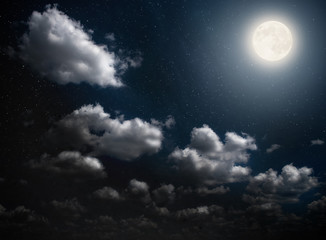 Cloudy night sky with moon and star. Elements of this image furnished by NASA.