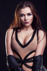 Hot sexy woman with big breast looking at camera