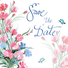 Save The Date with watercolor wild flowers. Wedding Invitation Card (Use for Boarding Pass, invitations, thank you card.) Vector illustration.