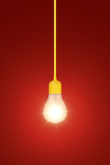 light bulb on a red background