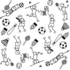 Sports people of doodle