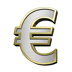 Euro sign from brushed silver with shiny gold frame alphabet set, isolated on white. 3D illustration.