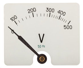 Arrow of voltmeter indicating an 0 volts, isolated on white back